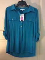 NEW Women L/M/XL Shirt Top Teal Green Blouse $59 Career Henley Roll Up Sleeves