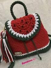 FASHION KNITTED BAG BACKPACk CROCHET HANDMADE BACK SHOULDER  NEW WATERMELON RED
