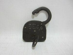 Antique BEAR Padlock Lock w Working Key Cast Iron Lock Great Patina