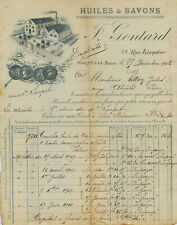 "F 50   3  FACTURES HUILE RIE ET SAVONNERIE "" J. GONTHARD ""  MARSEILLE PRADO 1908"