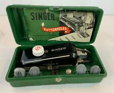 Vintage Singer Button holder Sewing Machine with Attachments and Original Box