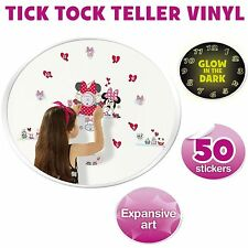 Disney Minnie Mouse Tell the Time with Me Wall Clock and 50 Wall Glow Sticker