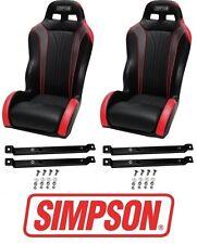 Simpson Vortex Front Pair Seats Red w/ Rails 14-17 Polaris RZR XP 1000 & Turbo