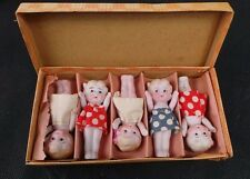 "Vintage Box Set Of 5 Mignonette Dolls 2.5"" Japan Bisque 602/676s"