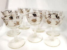 7 Libbey Frosted Glass Footed Dessert Wine/Sherbet Leaf Silver Trim 4oz 1960 Era