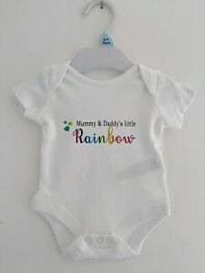 Mummy And Daddy's Little Rainbow Baby Baby Grow