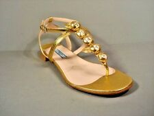 PRADA 37/7 Gold Leather Flower Thong Flats Sandals Walking Shoes New Authentic