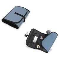 Men Ladies Hanging Travel Folding Wash Bag Toiletry Mirror Blue Make Up Cosmetic