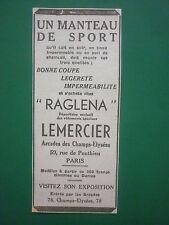 1933-34 PUB RAGLENA LEMERCIER VETEMENTS SPECIAUX CUIR PILOTE RUE PONTHIEU AD