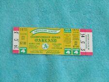 1973 ALCS COMPLETE UNUSED TICKET OAKLAND A's BALTIMORE ORIOLES GAME 4 NRMT+