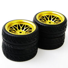 RC 1:10Rubber Tire WheelRim 4Pc For HPI HSP Flat Racing On Road Car BBG+PP0150