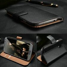 Deluxe Genuine Real Leather Stand Wallet Case Cover For iPhone Samsung Sony LG