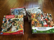 Lot Of Two 1000 Pieces Puzzles, The Saturday Evening Post , Patriotic And Kids
