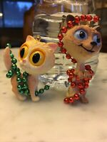 2003 AGC Inc Christmas Cats With Huge Eyes Christmas Ornaments