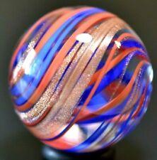"HANDMADE GLASS MARBLE/1.229""-GOLD LUTZ SUPERBOY SWIRL-ROYAL,TOMATO,GOLD LUTZ RIB"