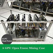6GPU Stackable Open Air Open Frame Mining Case Rig Ethereum ETH Bracket Aluminum