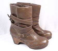 MATISSE Nixie Brown Leather Mid Calf Wooden Platform Buckle Clog Boots Women 10