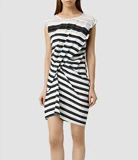 All Saints Ayla Cleo Dress NWT US0 XS Stripe White Black 100% silk