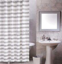 Black Small Square Stripe Pattern Design Bathroom Fabric Shower Curtain fs822