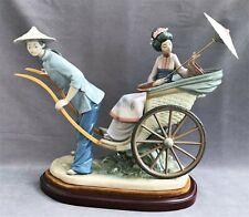 Lladro A Ride In China #1383 Rickshaw ride with Base and Box