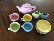 Little girls small ceramic polka dot tea set 11pc.