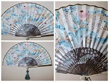 Antique Victorian Edwardian Hand Painted Floral Ladies Folding Fan