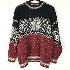 Dale of Norway Men's S/M Red Black White Fair Isle Nordic Sweater Wool