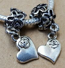 2pc Silver Rose Hearts Flower Pattern Bail European Dangle Charms Beads