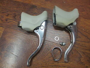 VINTAGE CAMPAGNOLO RECORD BRAKE LEVERS WHITE HOODS - NOT COMPLETE