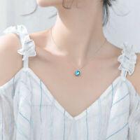 Fashion Blue Dream Island Aurora Round Blue Crystal Pendant Necklace Gift