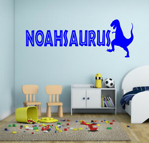 PERSONALISED NAME DINOSAUR WALL ART STICKER QUOTE DECAL BOYS CHILDRENS DECOR