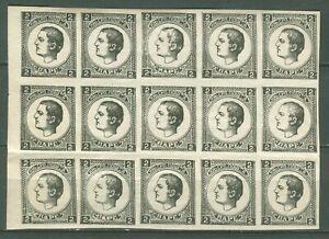 SERBIA 1878 - NEWSPAPER Duke Milan Obrenovic II PRINT MI. 20 BLOCK OF 15 MNH