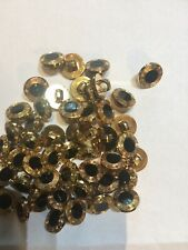 Set Of 6 Black And Gold Button