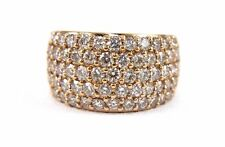 Fine Wide Cluster Diamond Pave Dome Cigar Ring Band 14k Rose Gold 3.36Ct