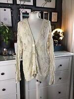 Cream Cardigan 12 14 16 Vest Crocheted Lace Open Blogger Trend Scandi Artisan
