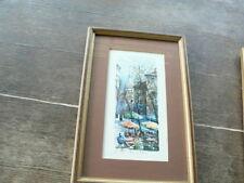 aquarelle  vu de Paris encadré reproduction place du Tertre