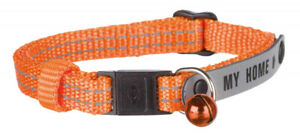 Cat Collar With Address Tag Reflective ID Collar Red Orange Purple Or Black