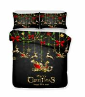 New Year Christmas Gift Trees Reindeer Adult Kids Bedding Duvet Quilt Cover Set
