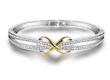 White gold finish yellow gold infinity created diamond  bangle gift idea NEW