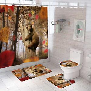 Bear Shower Curtain Set Bathroom Rugs Thick Bath Mat Non-Slip Toilet Lid Cover
