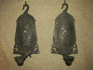 Antique Gothic Iron Sconces, Old House Salvage, for Restoration
