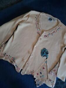 STORYBOOK KNITS NEW FLAX COLOR BEADED CARDIGAN SWEATER COTTON BLEND L-XL