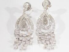 14K Diamond Earrings Dangle Pear Shaped White Gold Cluster