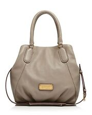 NWT MARC by MARC JACOBS New Q FRAN Leather Shoulder Bag CEMENT Gray $448 AUTHNTC