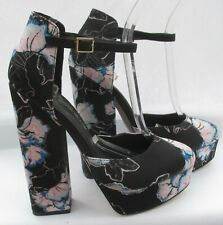 River Island size 6 (39) black & multi coloured floral platform high heels