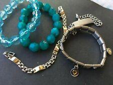 Stretch, Nick Chain, Two Tone Chain lot of Bracelets, Usa Stretch, Blue