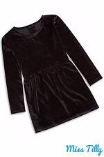 🖤 Girls Black Velvet Look Winter Dress Ages 2 -14 Kids Teen Velour Skirt