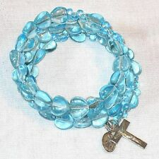 Rosary bracelet, aqua blue glass heart beads B37