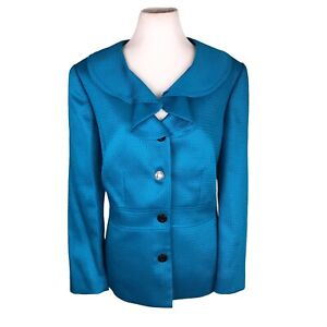 TAHARI 1 PC Single Breasted Blue Polyester Blend Ruffle Lined Blazer Size 8