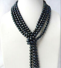 Long 100'' Handmade 6-7mm Tahitian Black Freshwater Pearl Jewelry Necklace